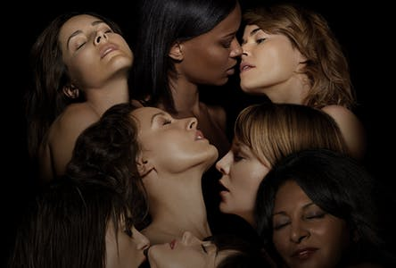 Multiple women embrace in an image from the showtime original series The L Word