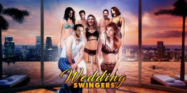 Marketing image for the porn on showtime movie wedding swingers showing several people in underwear