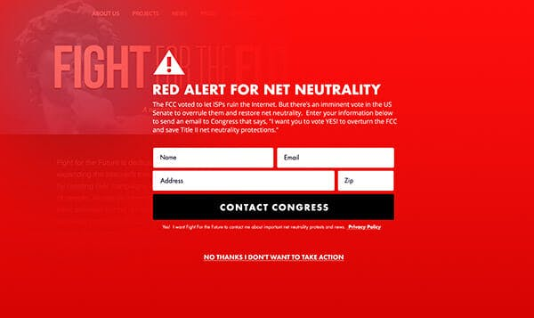Internet activists are planning a 'Red Alert' protest ahead of Congress's vote on net neutrality.