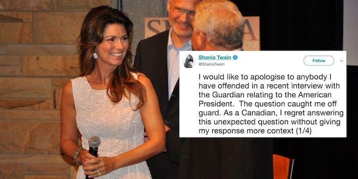 shania twain apology tweet