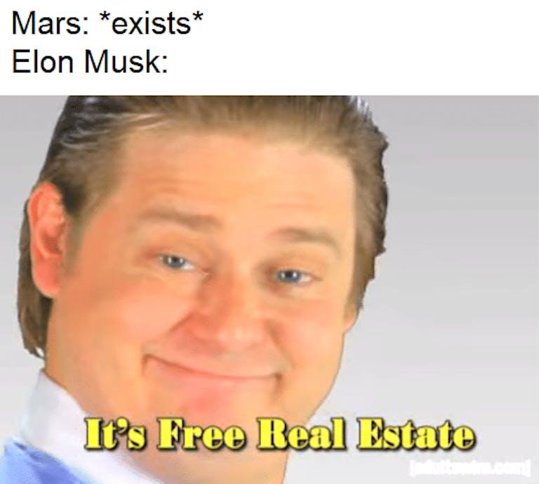 elon musk mars free real estate