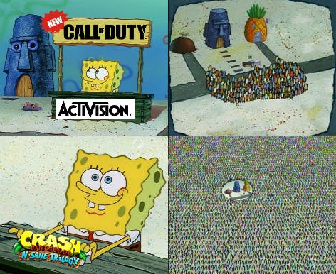 spongebob crowd hype meme