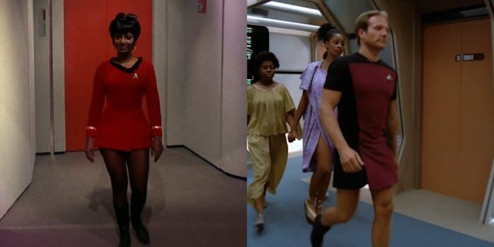 Uhura and male crew member wearing miniskirts