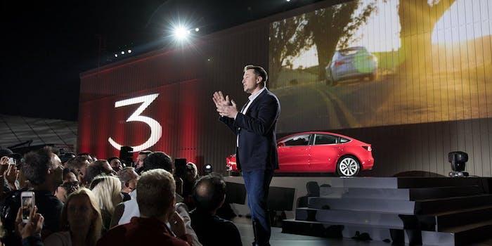 Elon Musk during Model 3 presentation