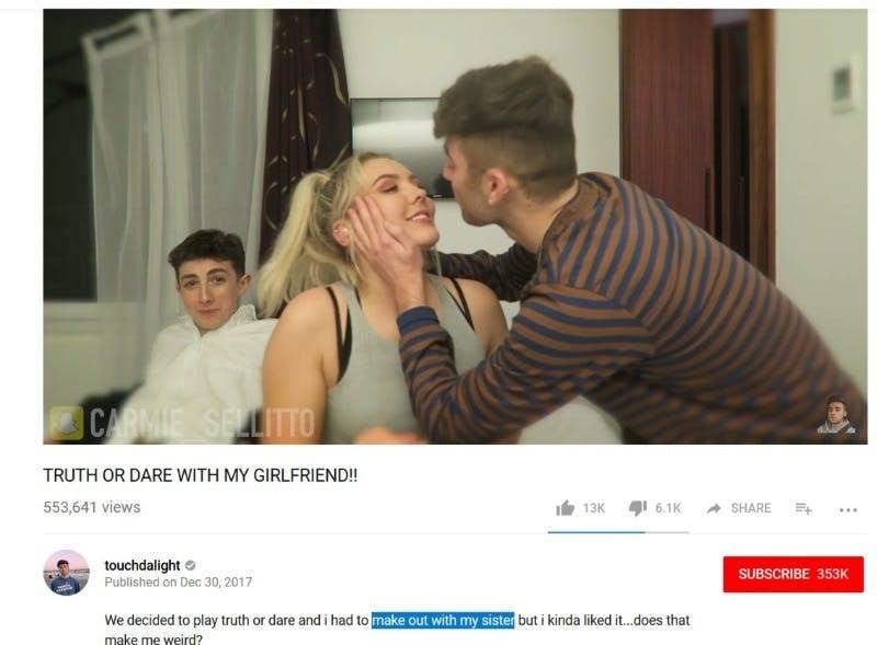 Touchdalight YouTube sister kiss