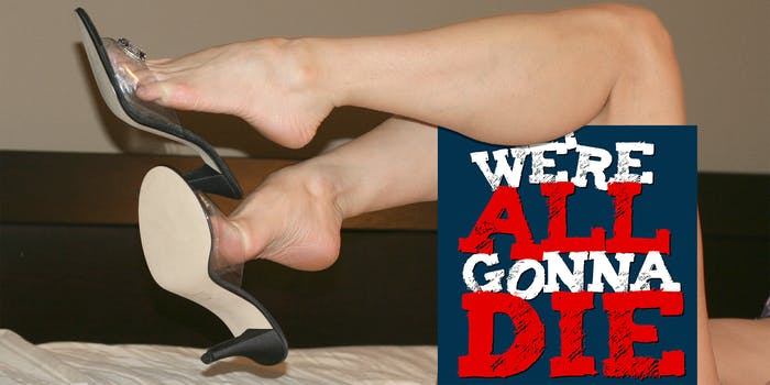 woman kicking off shoes with leg draped over WAGD podcast logo