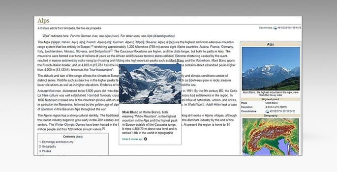 Wikipedia preview pages mockup