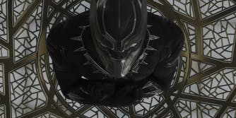 Black Marvel Characters - Black Panther looking up at the camera