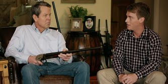Brian Kemp pointed a shotgun at a teenager in a recent ad.