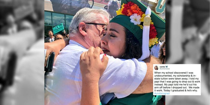 Camila Silva tearfully embracing her father after she, a DACA recipient, graduated from college.