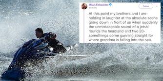 Man riding jet ski with jet ski tweet