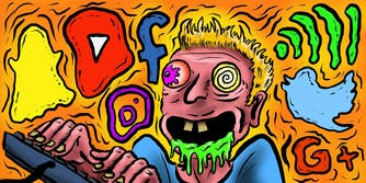 Trippy character tripping over too much internet