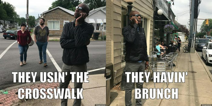 Meme of am African American man calling out white people