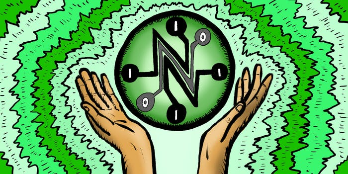 Net Neutrality logo illustrated with hands holding it up and energetic background