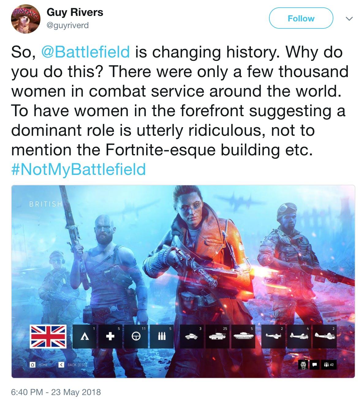 'Battlefield V' tweet