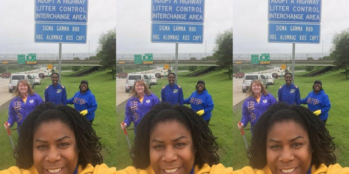 Sigma Gamma Rho sorority women who were questioned by police for cleaning up litter on the side of a highway.