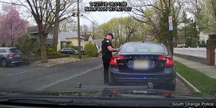 A cop stops a South Orange, New Jersey, school official, who then calls the police chief a 'skinhead.'