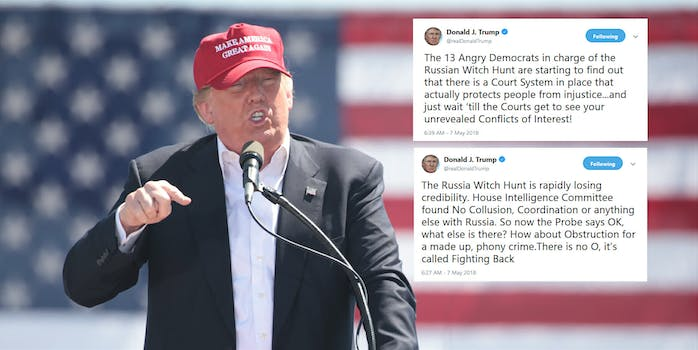 While President Donald Trump has attacked the ongoing probe into Russian interference in the 2016 election and other related matters, several tweets on Monday morning showed the president was moving onto the offensive–a contrast to a more reserved approach touted by his legal team in the past.