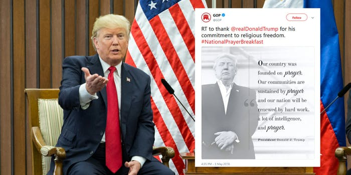 President Donald Trump proclaimed Wednesday as a 'National Day of Prayer,' and when the Republican Party tried to capitalize on that, it didn't go over well with people online.