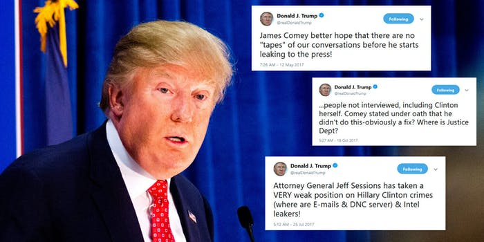 President Donald Trump tends to use his Twitter account to express his opinion on a number of different topics–but his constant use of the social media platform may come under fire with Special Counsel Robert Mueller.