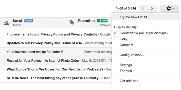 how to use gmail offline mode - New Gmail settings menu