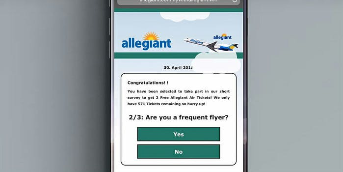 allegiant airlines phishing campaign on phone scams