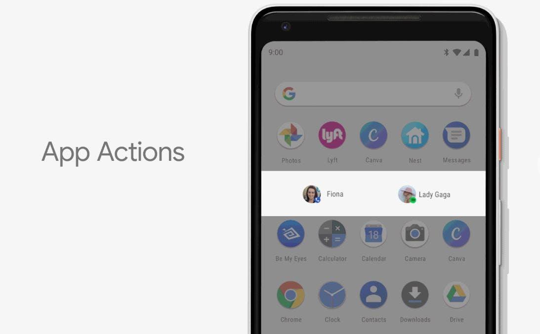 google app actions feautre android p