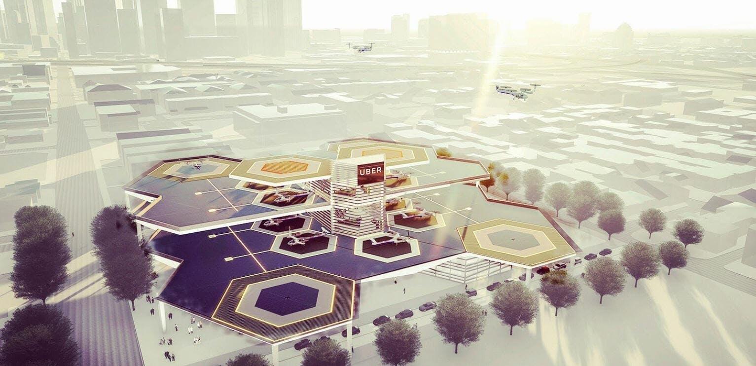 uber elevate flying taxis skyport beehive