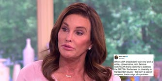 Caitlyn Jenner and a tweet criticizing her addressing The UK's Parliament on diversity.