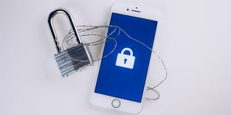 Data security image on phone with lock
