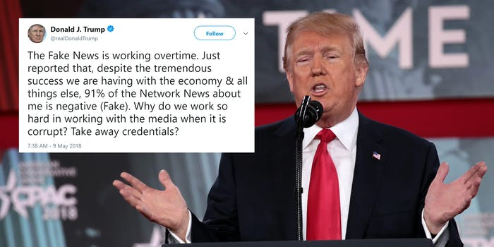 donald trump with fake news tweet