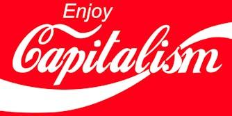 """enjoy capitalism"" mockup of Coca-Cola logo"