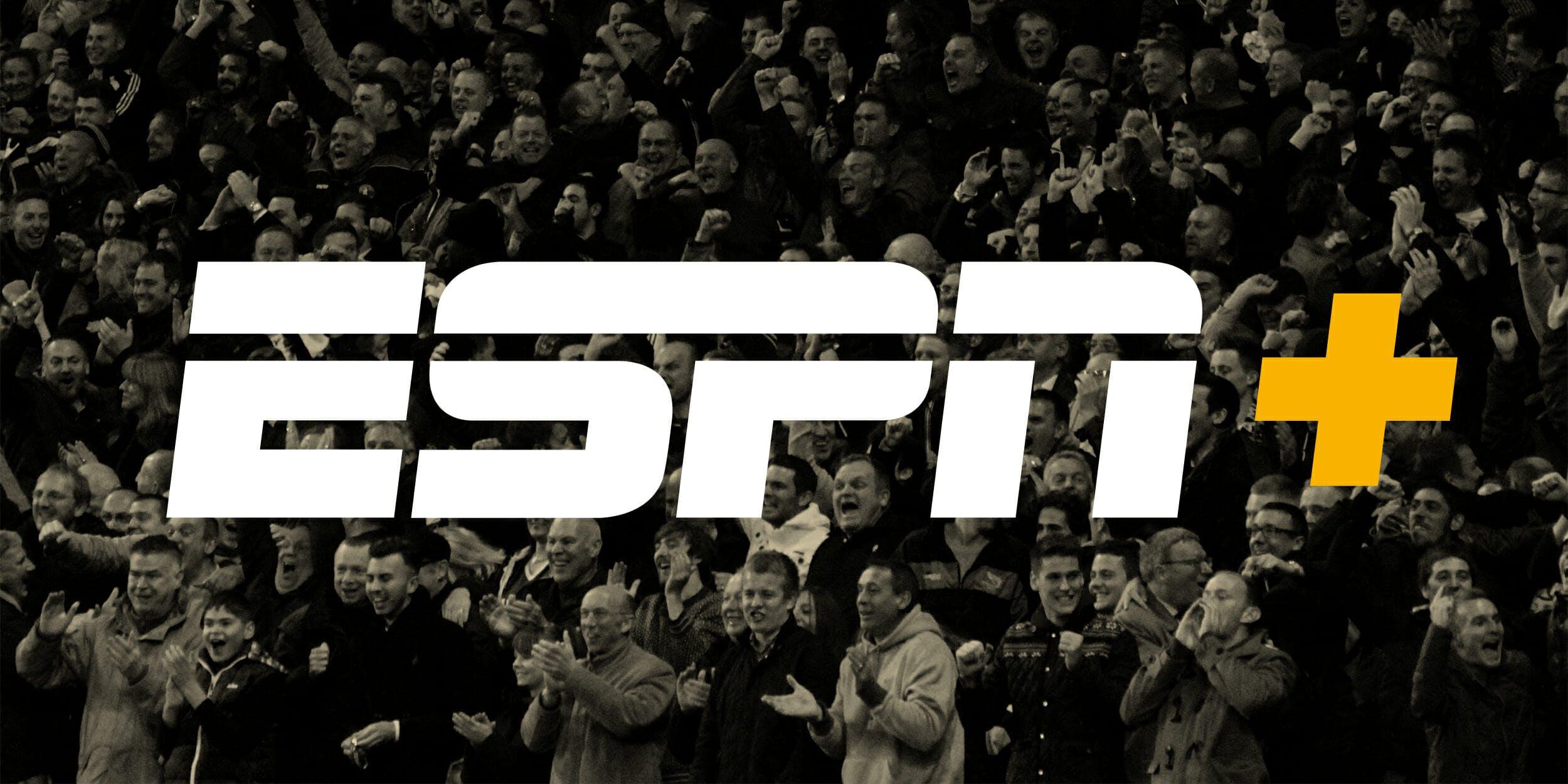 fans celebrate behind ESPN+ logo