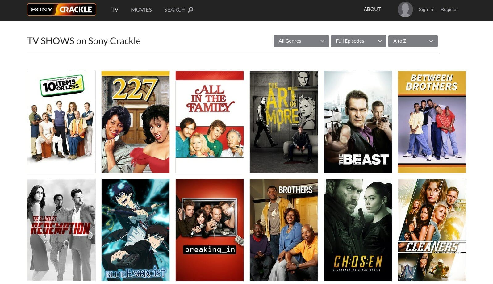 free tv shows - crackle