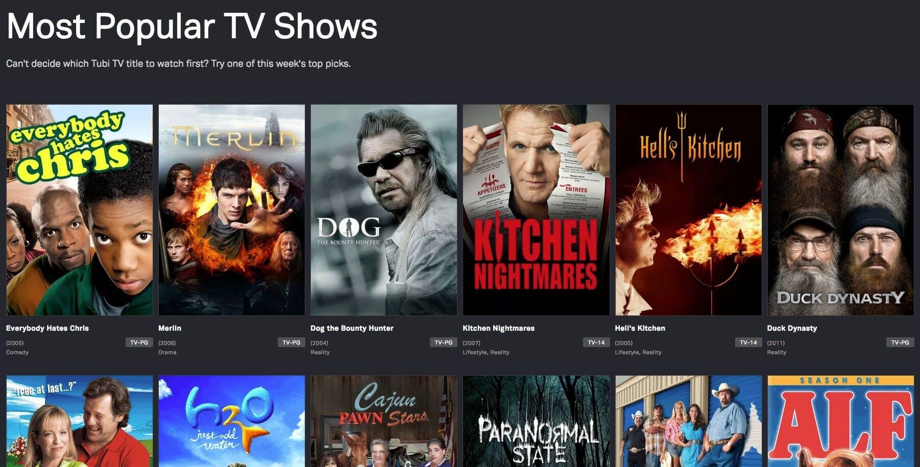free tv shows - tubi tv