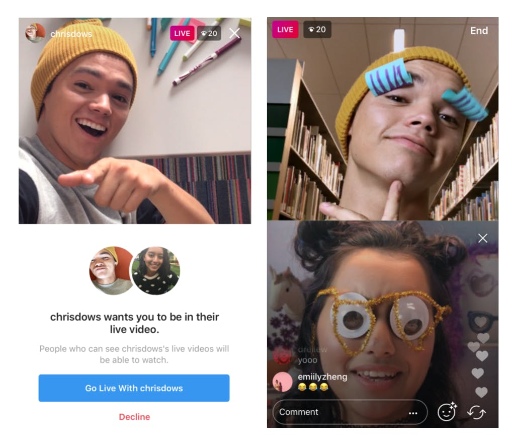 Go Live on Instagram with a friend screens