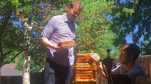 Spencer McCullough sets a new Guinness World Record for tallest waffle stack