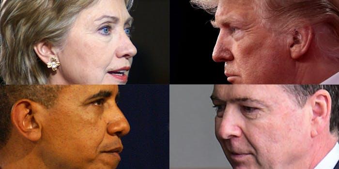 hillary clinton, donald trump, barack obama, james comey