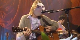 """Kurt Cobain with Gru face, singing """"About a gorl"""""""