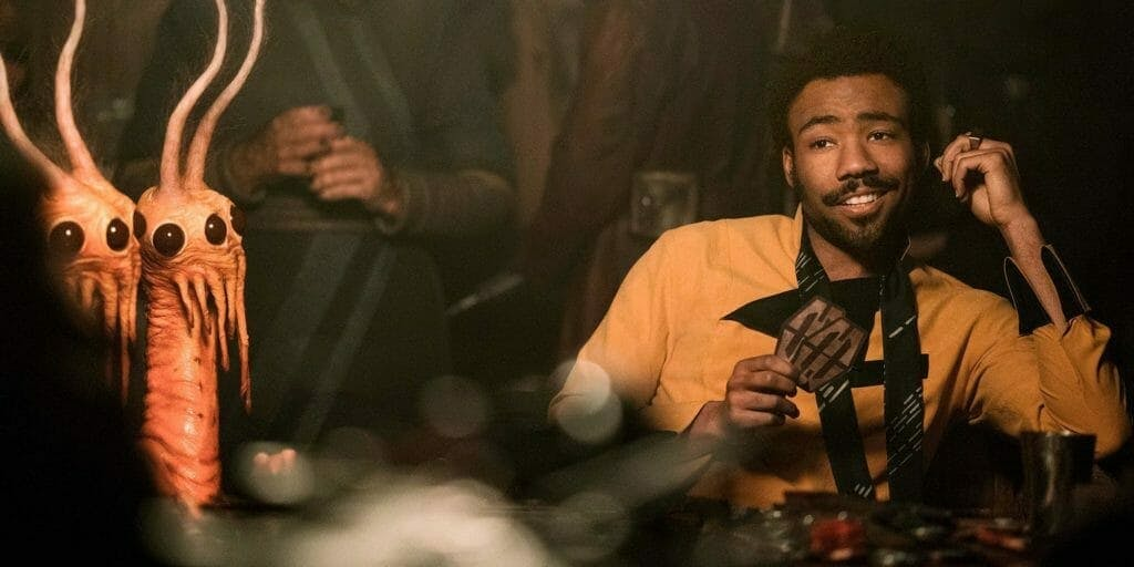 lando playing sabacc, the star wars card game, in Solo