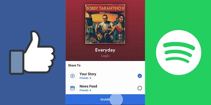 Logic Everyday with facebook thumbs up and spotify logo