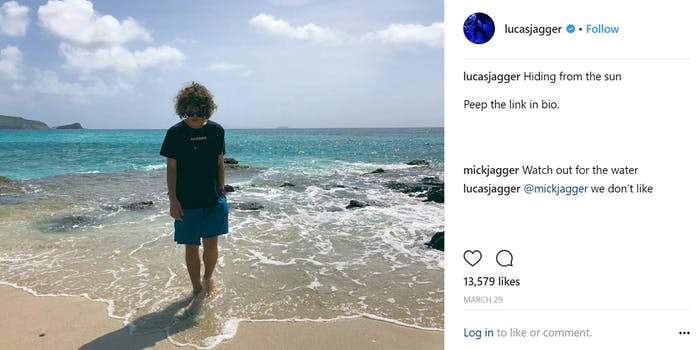 mick and lucas jagger instagram comment