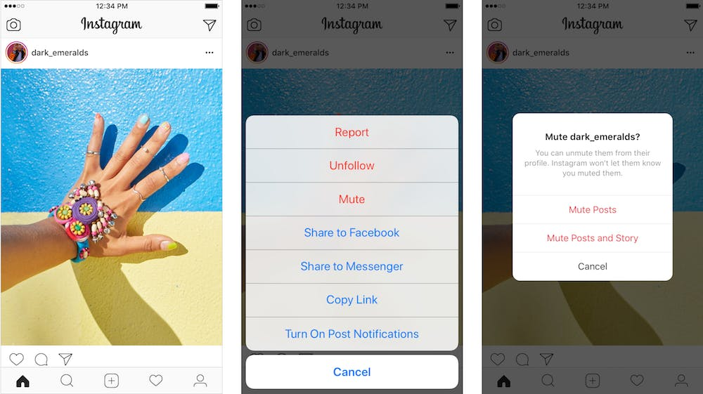 how to Mute instagram Posts from feed