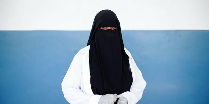 A nurse wearing a niqab.