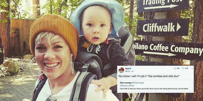 Pink on a hike with her toddler and a tweet of hers saying she embraces aging naturally.