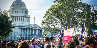 Planned Parenthood and Human Rights Campaign protesters gather at the U.S. Capitol to support quality health care for all.