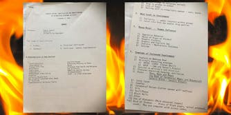 """Document about """"satanism"""" from 1989 over flames"""