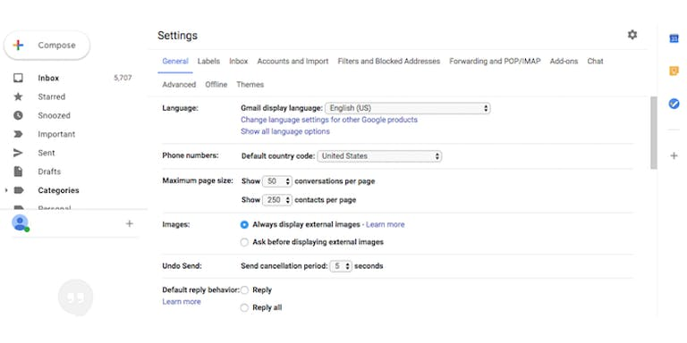 how to use gmail offline mode -Gmail Settings page
