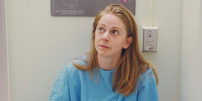 simone giertz in surgical gown