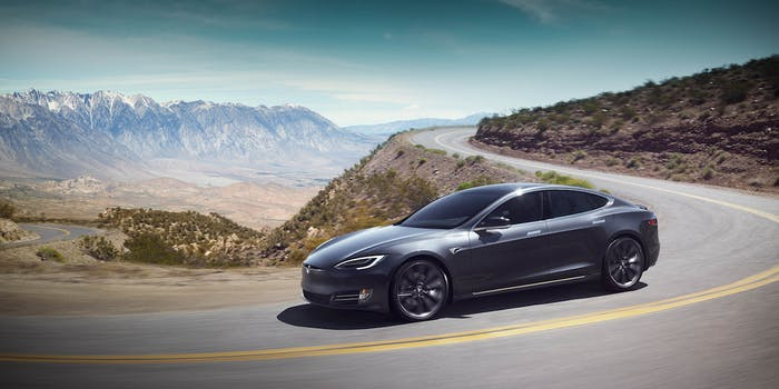 Tesla Model S on curvy downhill
